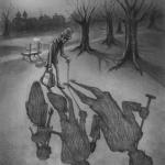 """Illustration zu: Jean Ray """"Die Bank und das Tor"""""""